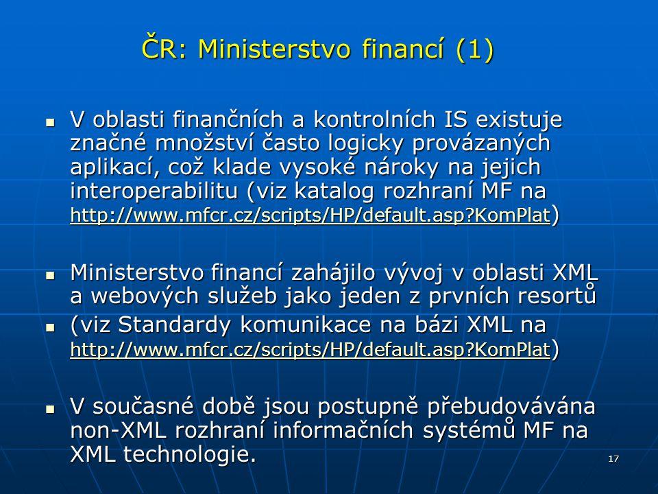 17 ČR: Ministerstvo financí (1) V oblasti finančních a kontrolních IS existuje značné množství často logicky provázaných aplikací, což klade vysoké ná