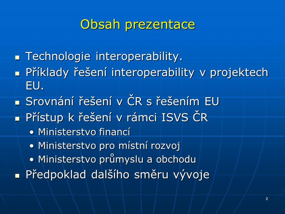 2 Obsah prezentace Technologie interoperability. Technologie interoperability. Příklady řešení interoperability v projektech EU. Příklady řešení inter