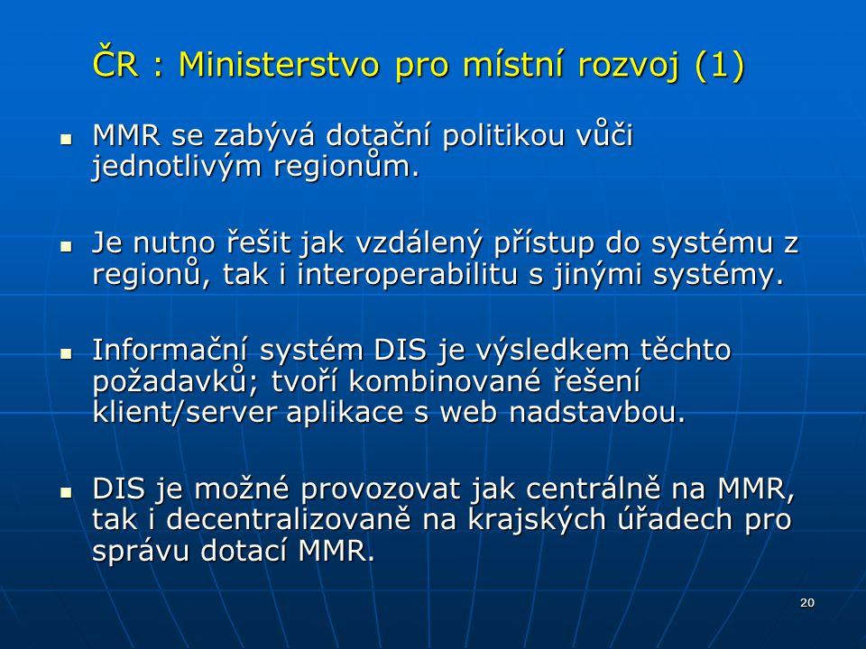 20 ČR : Ministerstvo pro místní rozvoj (1) MMR se zabývá dotační politikou vůči jednotlivým regionům. MMR se zabývá dotační politikou vůči jednotlivým