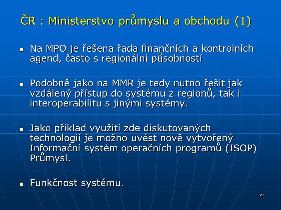 23 ČR : Ministerstvo průmyslu a obchodu (1) Na MPO je řešena řada finančních a kontrolních agend, často s regionální působností Na MPO je řešena řada