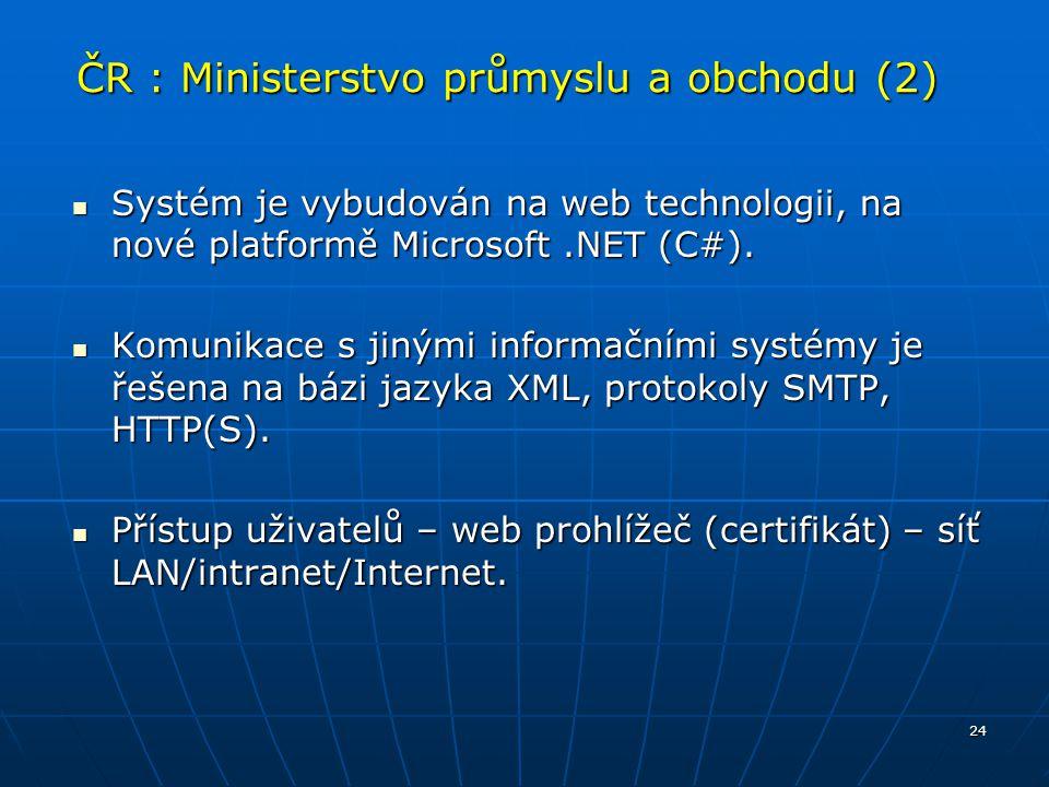 24 ČR : Ministerstvo průmyslu a obchodu (2) Systém je vybudován na web technologii, na nové platformě Microsoft.NET (C#). Systém je vybudován na web t