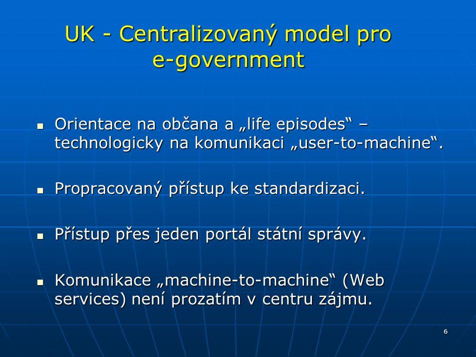 """6 UK - Centralizovaný model pro e-government Orientace na občana a """"life episodes"""" – technologicky na komunikaci """"user-to-machine"""". Orientace na občan"""