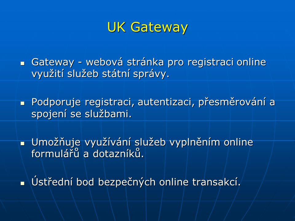 UK Gateway Gateway - webová stránka pro registraci online využití služeb státní správy. Gateway - webová stránka pro registraci online využití služeb