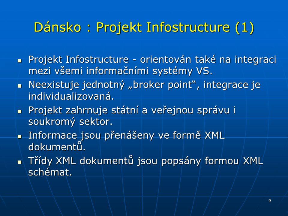 9 Dánsko : Projekt Infostructure (1) Projekt Infostructure - orientován také na integraci mezi všemi informačními systémy VS. Projekt Infostructure -