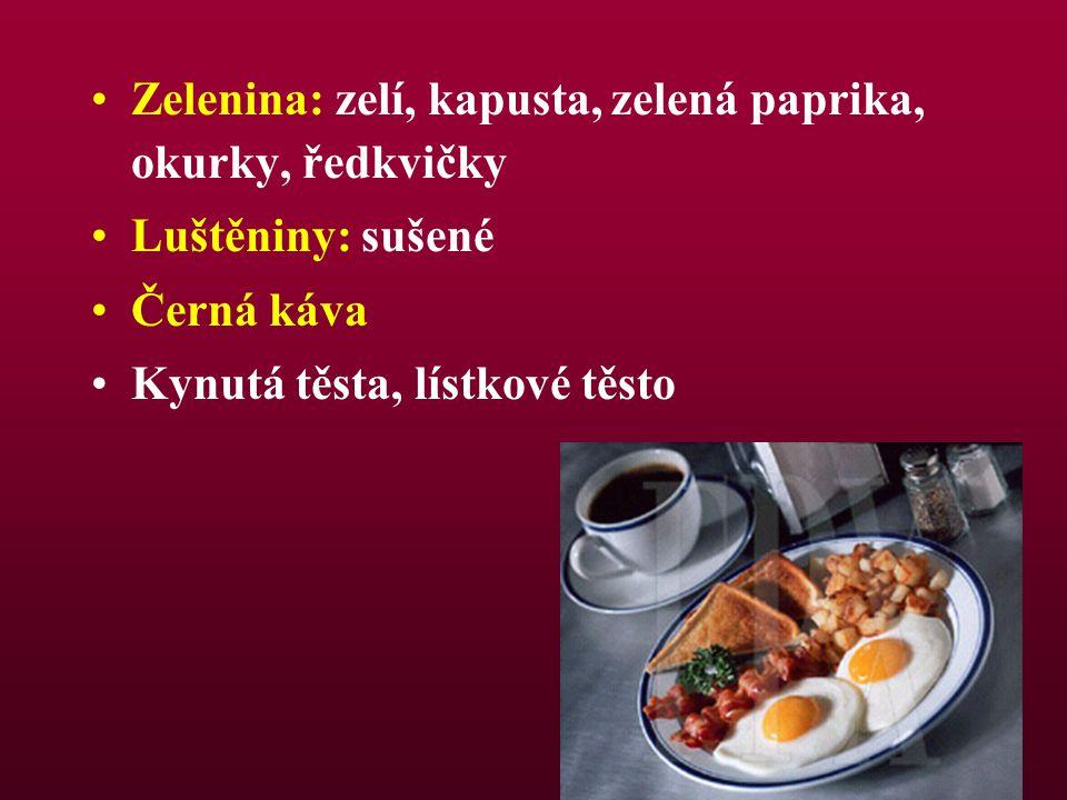 Zelenina: zelí, kapusta, zelená paprika, okurky, ředkvičky Luštěniny: sušené Černá káva Kynutá těsta, lístkové těsto