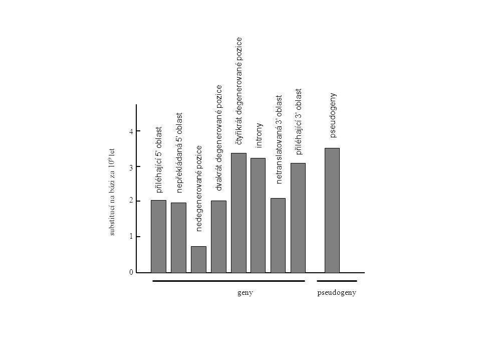 substitucí na bázi za 10 9 let 1 0 2 3 4 přiléhající 5' oblastnepřekládaná 5' oblast nedegenerované pozice dvakrát degenerované pozice čtyřikrát degenerované pozice introny netranslatovaná 3' oblast přiléhající 3' oblast pseudogeny genypseudogeny