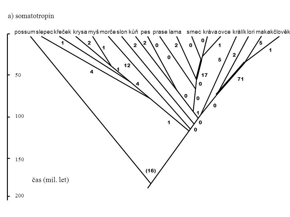 possummyšslonkůňkočkaprasevelbloudkrávaovcekrálíkmakakčlověkkrysa (13) 0 0 0 33 1 3 8 5 37 3 1 0 0 0 38 2 8 51 59 14 22 8 21 50 100 150 200 3 křeček b) prolaktin čas (mil.