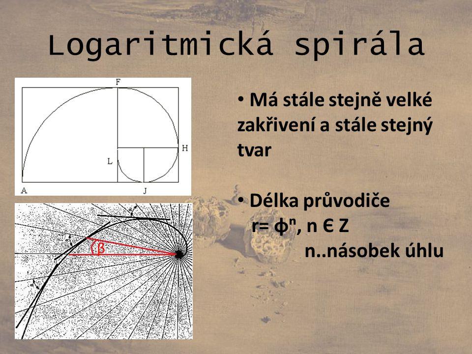 Logaritmická spirála Má stále stejně velké zakřivení a stále stejný tvar Délka průvodiče r= φⁿ, n Є Z n..násobek úhlu β