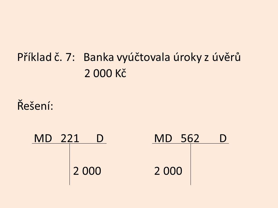 Příklad č. 7: Banka vyúčtovala úroky z úvěrů 2 000 Kč Řešení: MD 221 D MD 562 D 2 000 2 000