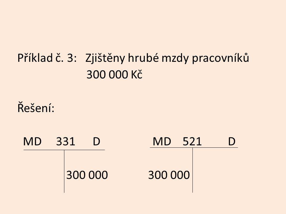 Příklad č. 3: Zjištěny hrubé mzdy pracovníků 300 000 Kč Řešení: MD 331 D MD 521 D 300 000 300 000
