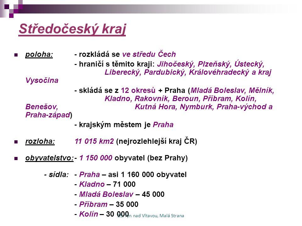 Středočeský kraj poloha:- rozkládá se ve středu Čech - hraničí s těmito kraji: Jihočeský, Plzeňský, Ústecký, Liberecký, Pardubický, Královéhradecký a
