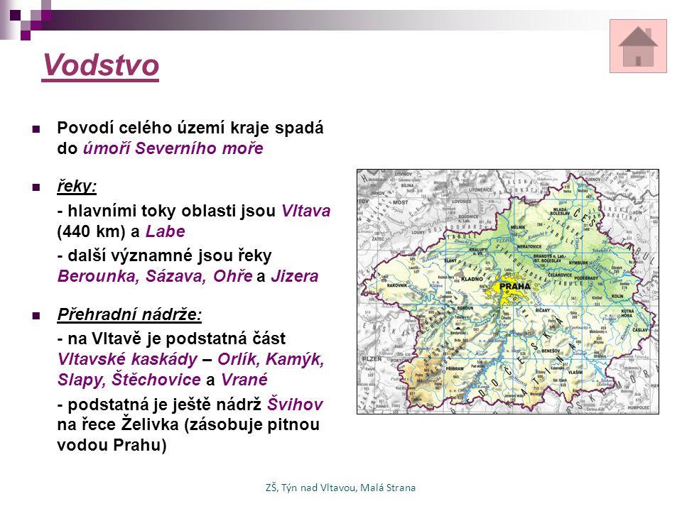 Podnebí, biosféra, nerostné suroviny podnebí: - vzhledem k nízké nadmořské výšce je Středočeský kraj oblastí s teplým podnebím - v tomto kraji je i místo s rekordní naměřenou teplotou – Uhřiněves u Prahy (40,2 0 C) ochrana přírody: - i přesto, že jde o největší kraj v ČR, tak se na jeho území nachází pouze 2 chráněné krajinné oblasti z celkového počtu 25 - CHKO Český kras a CHKO Křivoklátsko nerostné suroviny: - v současnosti se již moc nerostných surovin netěží - v minulosti byla ale důležitá těžba černého uhlí v okolí Kladna ZŠ, Týn nad Vltavou, Malá Strana