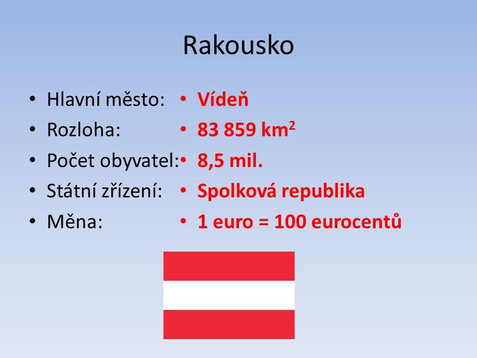 Rakousko Hlavní město: Rozloha: Počet obyvatel: Státní zřízení: Měna: Vídeň 83 859 km 2 8,5 mil.