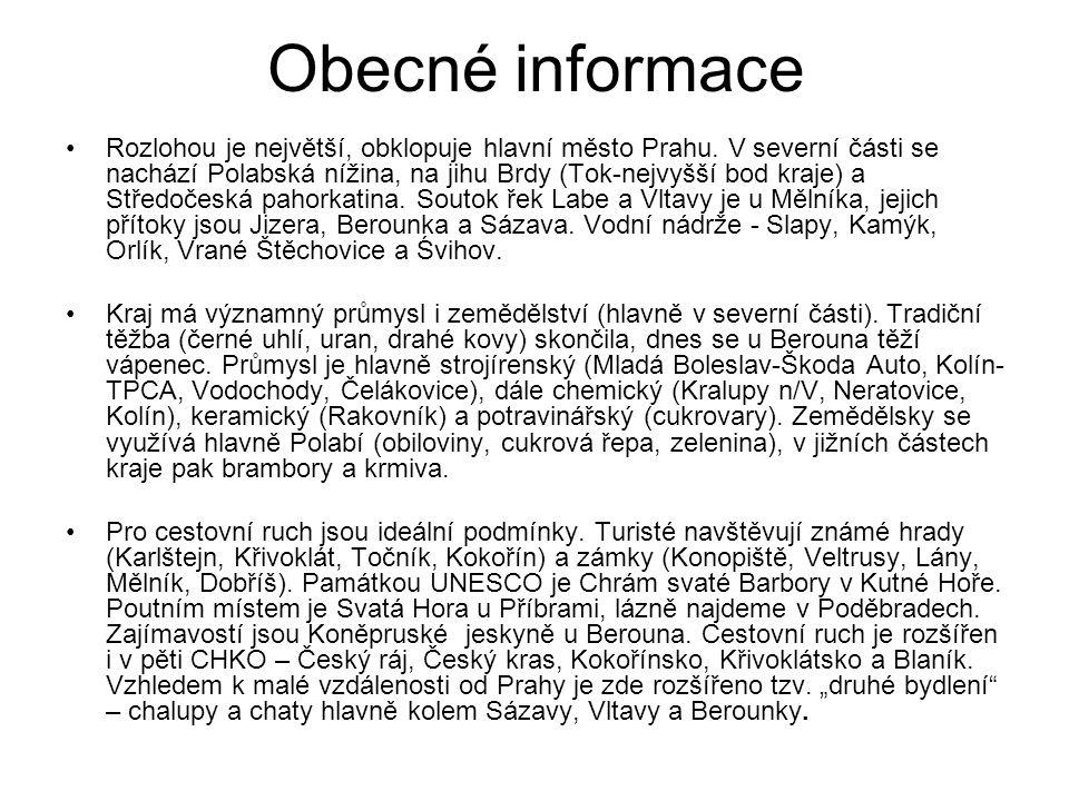 Okresní města Benešov Beroun Kladno Kolín Kutná Hora Mělník Mladá Boleslav Nymburk Praha – východ Praha – západ Příbram Rakovník