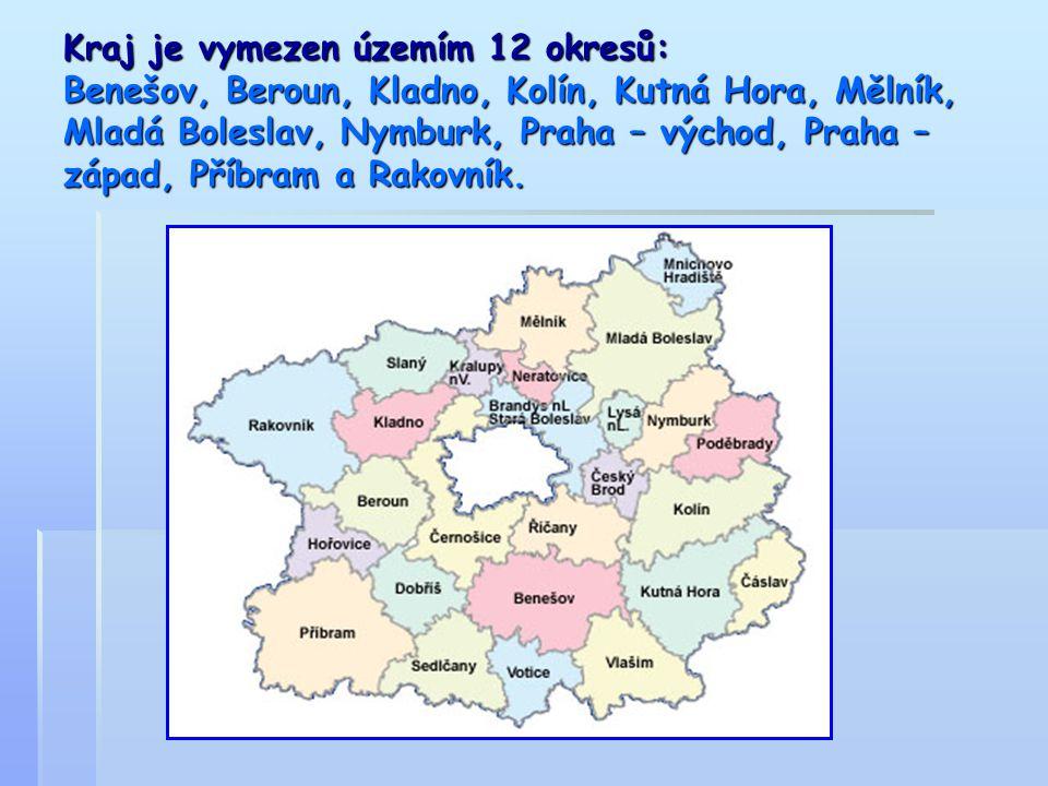 Kraj je vymezen územím 12 okresů: Benešov, Beroun, Kladno, Kolín, Kutná Hora, Mělník, Mladá Boleslav, Nymburk, Praha – východ, Praha – západ, Příbram a Rakovník.
