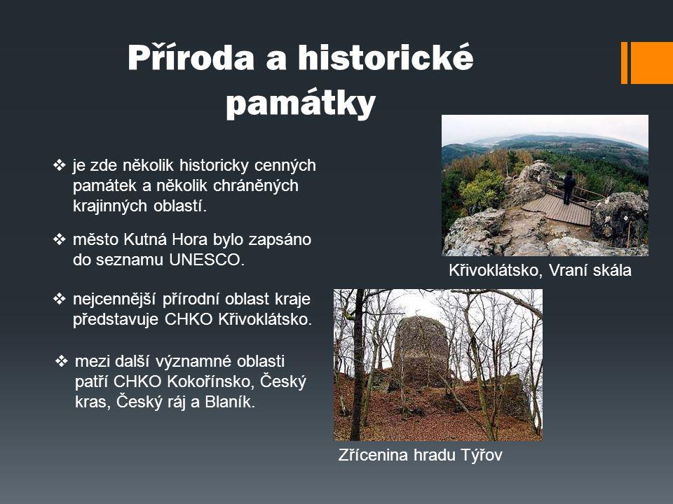 Příroda a historické památky  je zde několik historicky cenných památek a několik chráněných krajinných oblastí.  město Kutná Hora bylo zapsáno do s