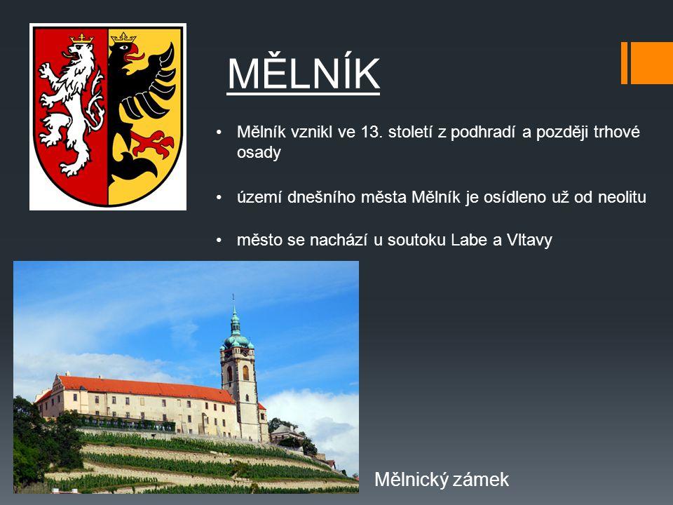 území dnešního města Mělník je osídleno už od neolitu MĚLNÍK město se nachází u soutoku Labe a Vltavy Mělník vznikl ve 13. století z podhradí a pozděj