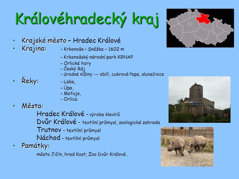 Královéhradecký kraj Krajské městoKrajské město – Hradec Králové Krajina:Krajina: - Krkonoše – Sněžka – 1602 m - Krkonošský národní park KRNAP - Orlic