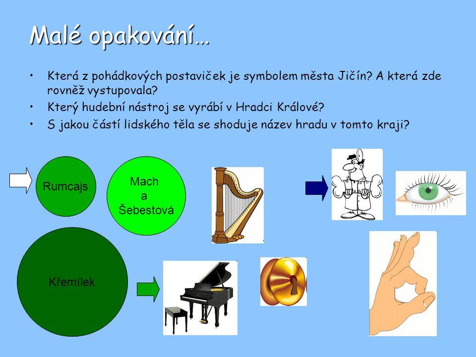 Malé opakování… Která z pohádkových postaviček je symbolem města Jičín? A která zde rovněž vystupovala? Který hudební nástroj se vyrábí v Hradci Králo
