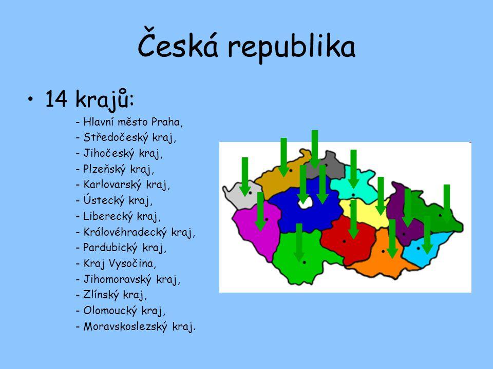 Česká republika 14 krajů: - Hlavní město Praha, - Středočeský kraj, - Jihočeský kraj, - Plzeňský kraj, - Karlovarský kraj, - Ústecký kraj, - Liberecký