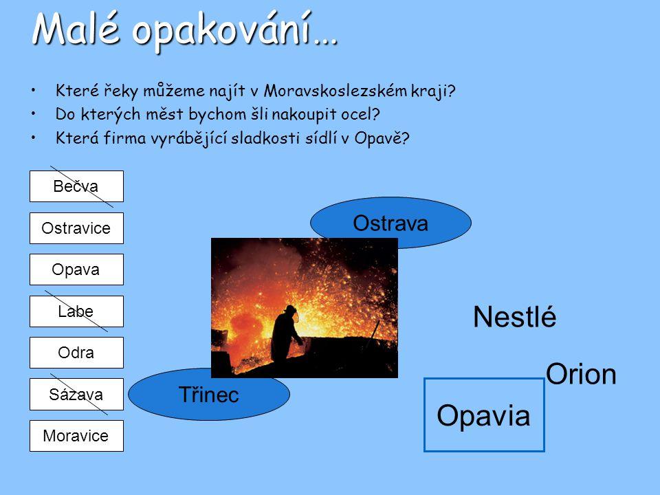 Malé opakování… Které řeky můžeme najít v Moravskoslezském kraji? Do kterých měst bychom šli nakoupit ocel? Která firma vyrábějící sladkosti sídlí v O
