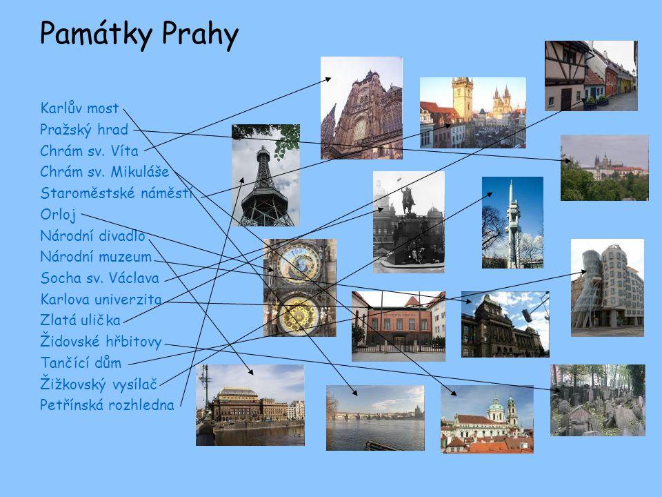 Památky Prahy Karlův most Pražský hrad Chrám sv.Víta Chrám sv.