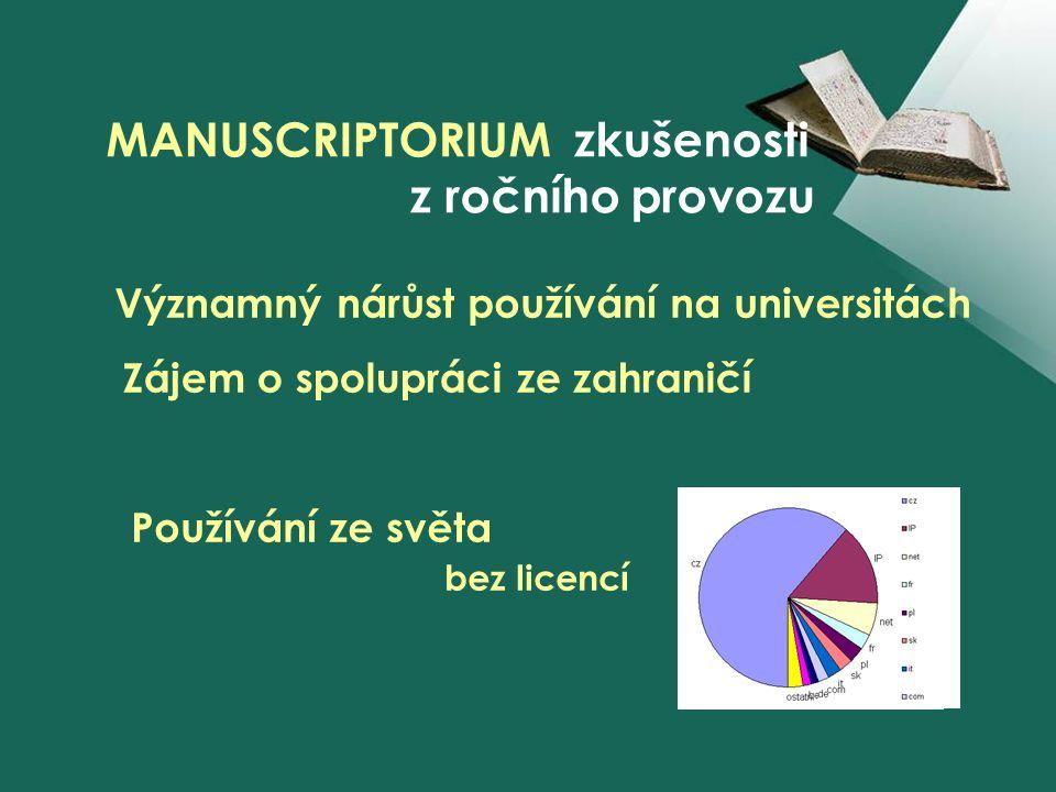 z ročního provozu Významný nárůst používání na universitách Zájem o spolupráci ze zahraničí Používání ze světa bez licencí