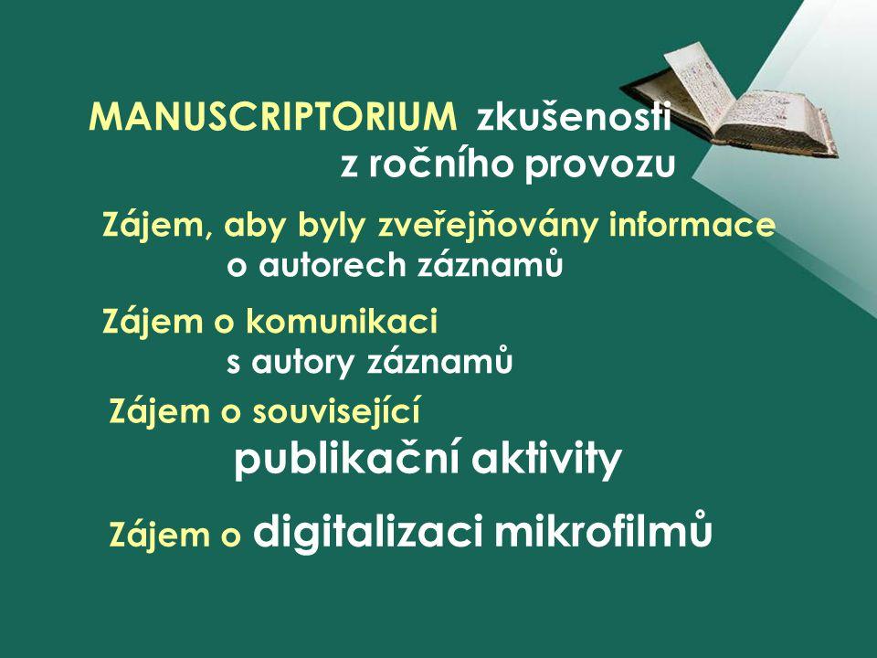 MANUSCRIPTORIUM zkušenosti z ročního provozu Zájem, aby byly zveřejňovány informace o autorech záznamů Zájem o komunikaci s autory záznamů Zájem o související publikační aktivity Zájem o digitalizaci mikrofilmů