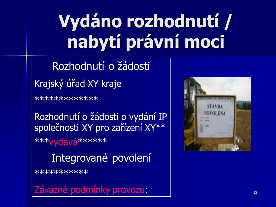 15 Vydáno rozhodnutí / nabytí právní moci Rozhodnutí o žádosti Krajský úřad XY kraje ************* Rozhodnutí o žádosti o vydání IP společnosti XY pro