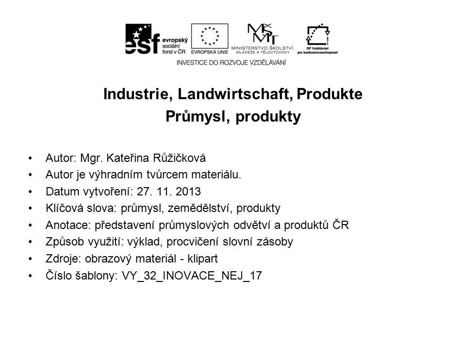 Industriezweige chemische Industrie – Ústí nad Labem Schwerindustrie – Ostrava – Stahlwerke Automobilindustrie – Škoda, Tatra, TPCA Lebensmittel – Lebkuchen, Milchprodukte Förderung von Erdöl, Kohle - Braunkohlengruben, Steikohlengruben