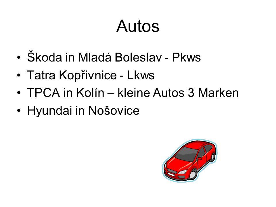 Autos Škoda in Mladá Boleslav - Pkws Tatra Kopřivnice - Lkws TPCA in Kolín – kleine Autos 3 Marken Hyundai in Nošovice