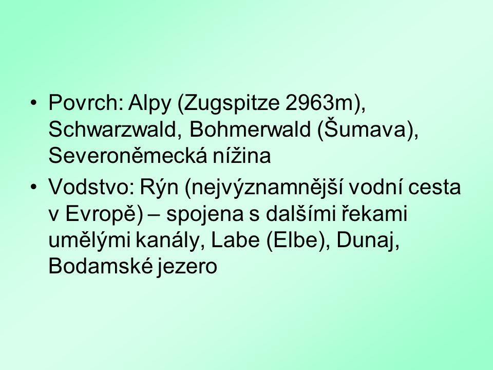 Povrch: Alpy (Zugspitze 2963m), Schwarzwald, Bohmerwald (Šumava), Severoněmecká nížina Vodstvo: Rýn (nejvýznamnější vodní cesta v Evropě) – spojena s