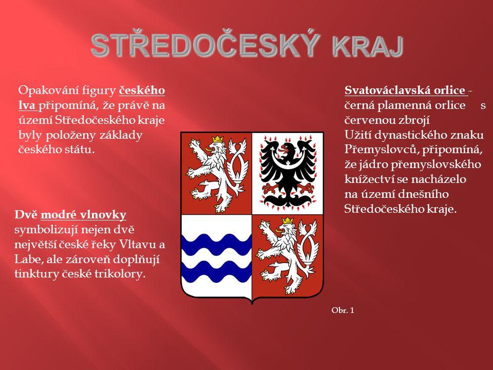 Opakování figury českého lva připomíná, že právě na území Středočeského kraje byly položeny základy českého státu. Svatováclavská orlice - černá plame