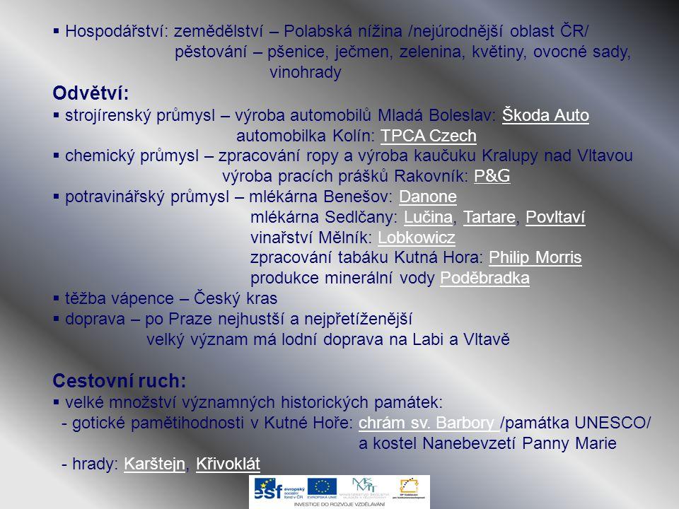  Hospodářství: zemědělství – Polabská nížina /nejúrodnější oblast ČR/ pěstování – pšenice, ječmen, zelenina, květiny, ovocné sady, vinohrady Odvětví: