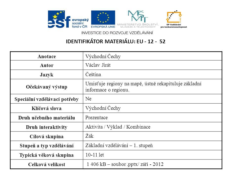 IDENTIFIKÁTOR MATERIÁLU: EU - 12 - 52 AnotaceVýchodní Čechy Autor Václav Jirát Jazyk Čeština Očekávaný výstup Umisťuje regiony na mapě, ústně rekapituluje základní informace o regionu.