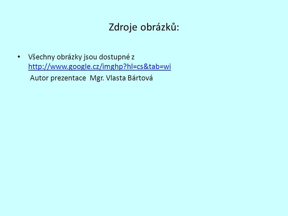 Zdroje obrázků: Všechny obrázky jsou dostupné z http://www.google.cz/imghp?hl=cs&tab=wi http://www.google.cz/imghp?hl=cs&tab=wi Autor prezentace Mgr.