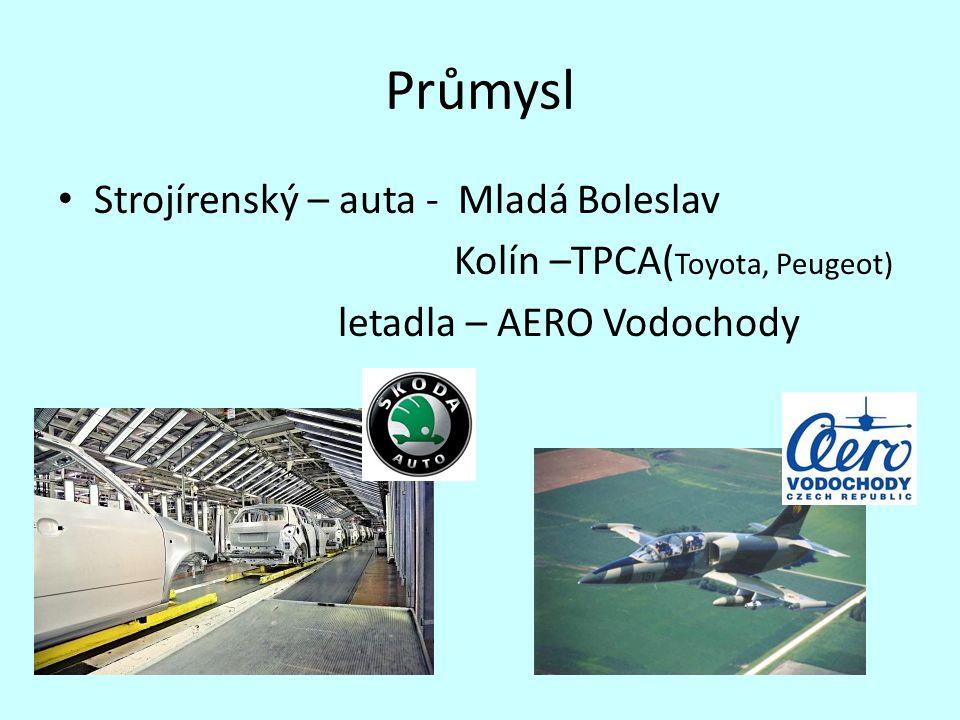 Průmysl Strojírenský – auta - Mladá Boleslav Kolín –TPCA( Toyota, Peugeot) letadla – AERO Vodochody