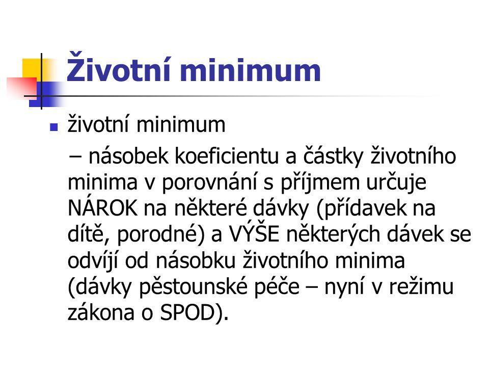 Životní minimum životní minimum – násobek koeficientu a částky životního minima v porovnání s příjmem určuje NÁROK na některé dávky (přídavek na dítě,