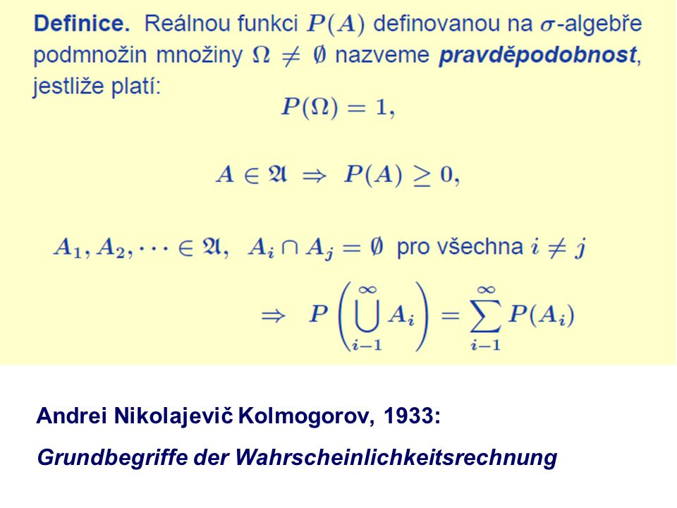 Andrei Nikolajevič Kolmogorov, 1933: Grundbegriffe der Wahrscheinlichkeitsrechnung