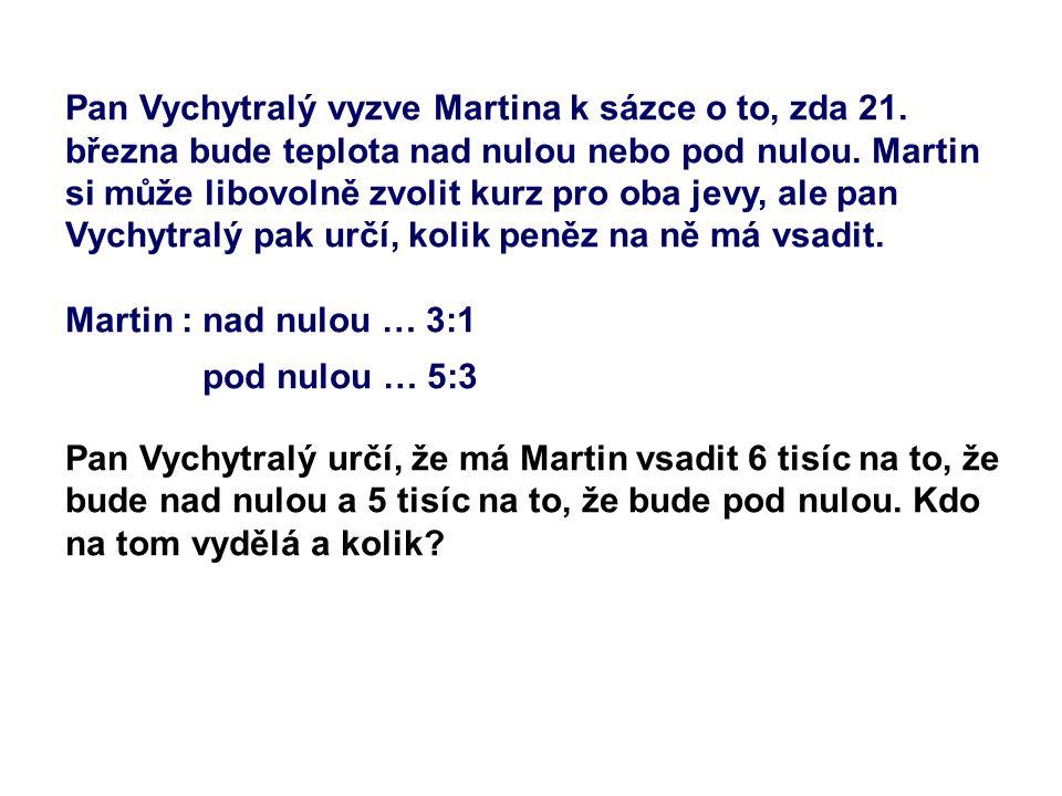 Pan Vychytralý vyzve Martina k sázce o to, zda 21. března bude teplota nad nulou nebo pod nulou. Martin si může libovolně zvolit kurz pro oba jevy, al