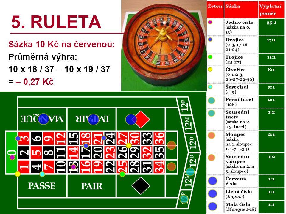 5. RULETA Sázka 10 Kč na červenou: Průměrná výhra: 10 x 18 / 37 – 10 x 19 / 37 = – 0,27 Kč