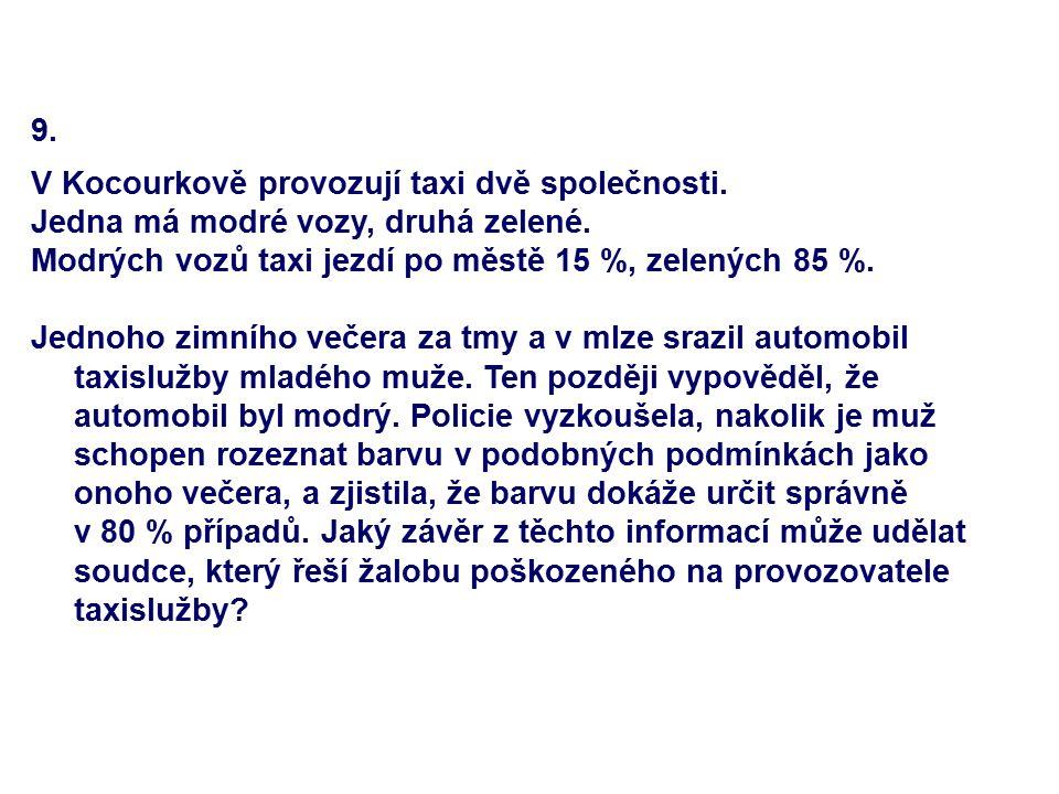 9. V Kocourkově provozují taxi dvě společnosti. Jedna má modré vozy, druhá zelené. Modrých vozů taxi jezdí po městě 15 %, zelených 85 %. Jednoho zimní