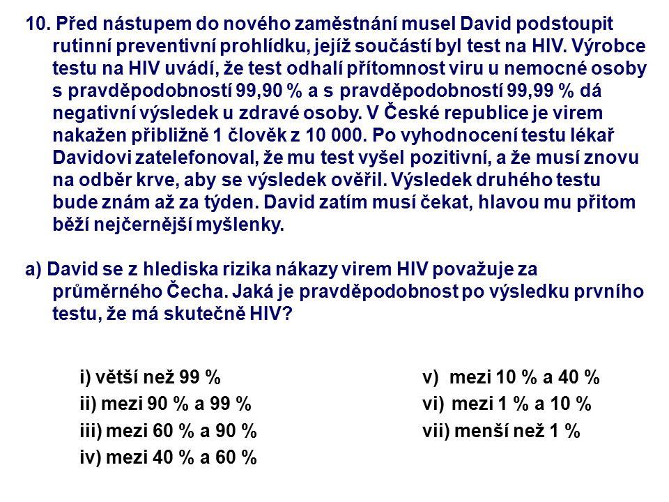 10. Před nástupem do nového zaměstnání musel David podstoupit rutinní preventivní prohlídku, jejíž součástí byl test na HIV. Výrobce testu na HIV uvád