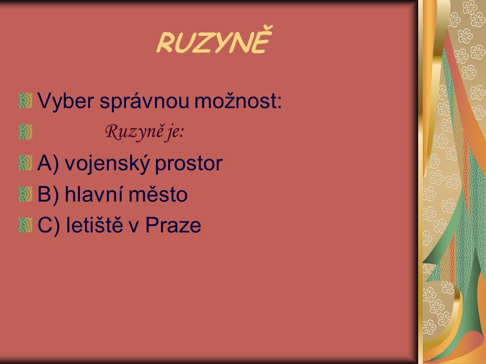 RUZYNĚ Vyber správnou možnost: Ruzyně je: A) vojenský prostor B) hlavní město C) letiště v Praze