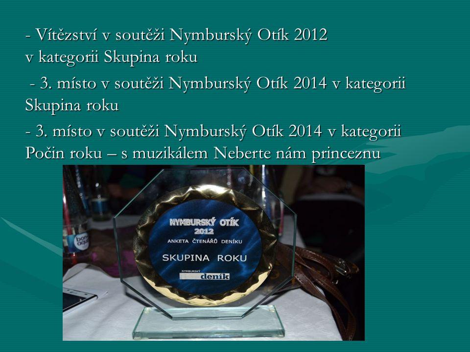 - Vítězství v soutěži Nymburský Otík 2012 v kategorii Skupina roku - 3.
