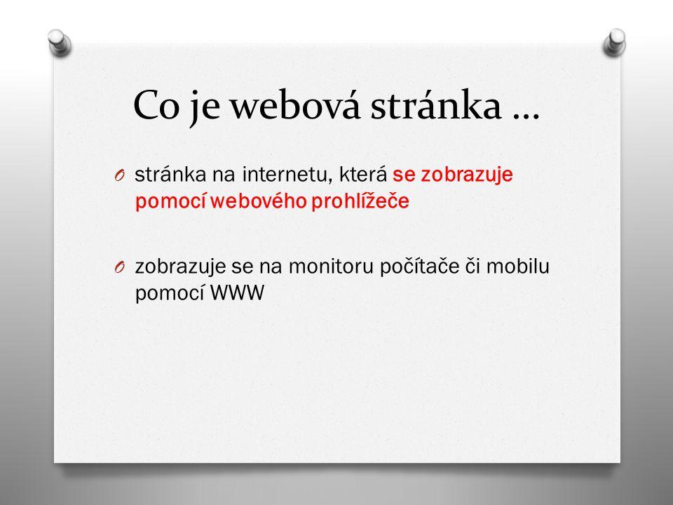 Co je webová stránka … O stránka na internetu, která se zobrazuje pomocí webového prohlížeče O zobrazuje se na monitoru počítače či mobilu pomocí WWW