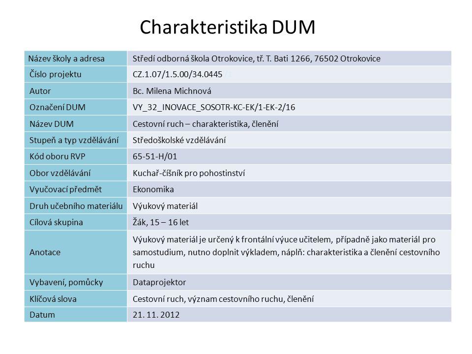 Charakteristika DUM 1 Název školy a adresaStředí odborná škola Otrokovice, tř.