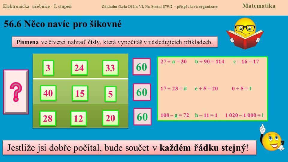 56.7 Equation, unknown Elektronická učebnice - I.