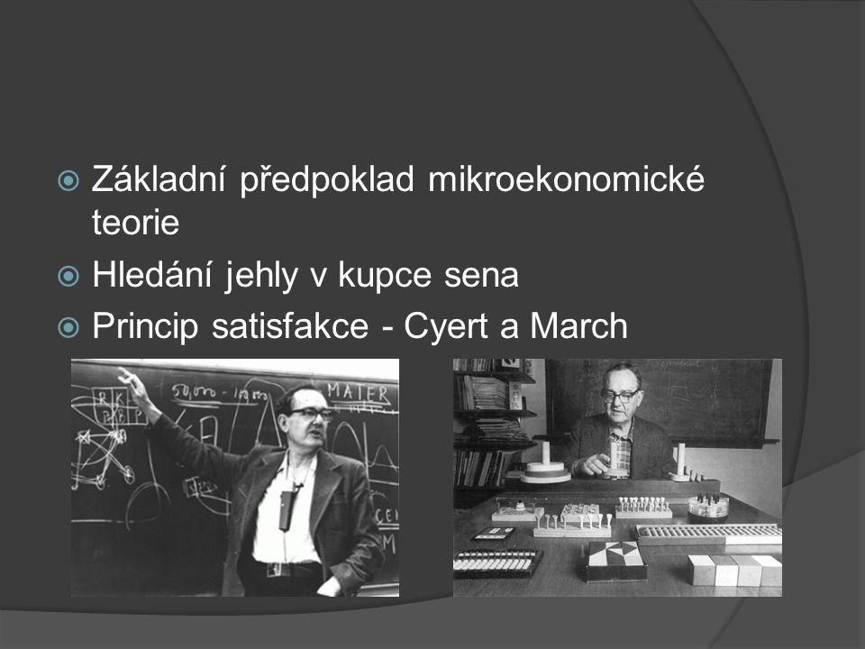  Základní předpoklad mikroekonomické teorie  Hledání jehly v kupce sena  Princip satisfakce - Cyert a March