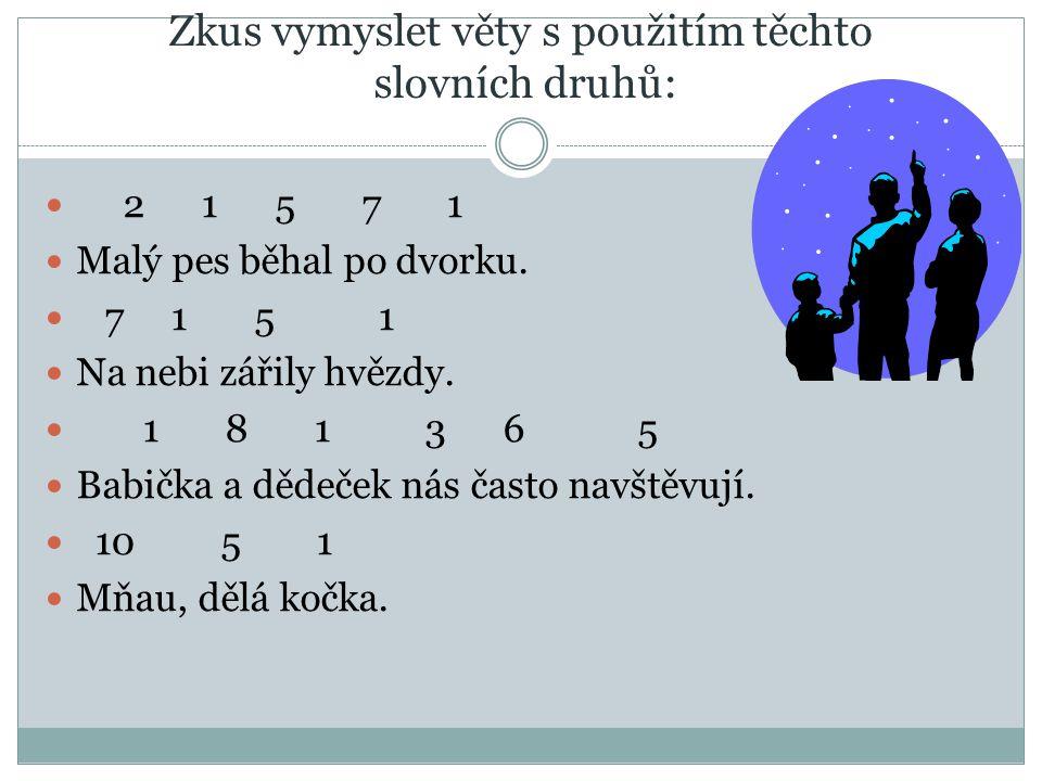 Zkus vymyslet věty s použitím těchto slovních druhů: 2 1 5 7 1 Malý pes běhal po dvorku.